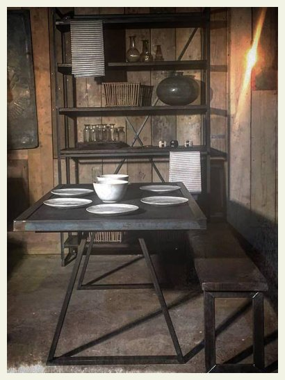 industrial table and shelving
