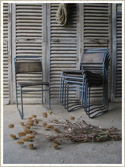 oak stacking chairs vintage