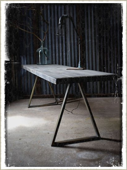 refectory table brass trestle