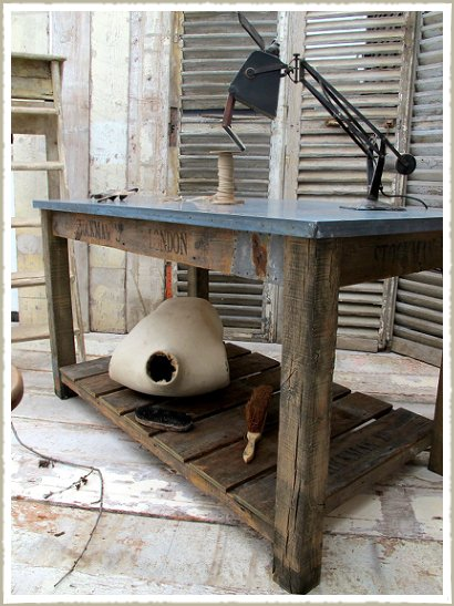 Zinc Topped Two Tier Work Bench / Kitchen island.