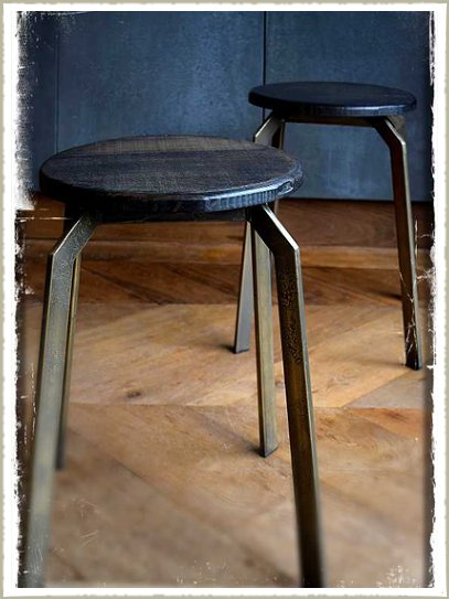 Quirky brass and black ash stacking stools