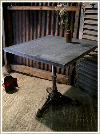 square bistro table zinc