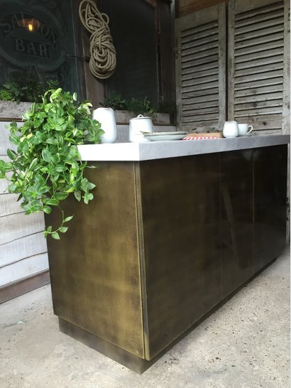 brass kitchen island