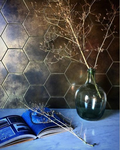 hexagon brass splashback tile