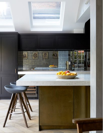 kitchen brass cabinet doors and island, UK