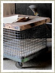 Vintage storage cage or side table