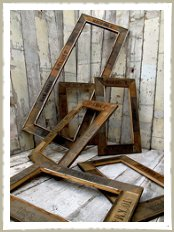 Reclaimed fruitbox picture frames
