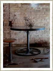 industrial cog round zinc table