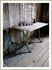 cast iron base table industrial wood top
