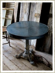 Cafe Table, Zinc Topped round bistro commercial