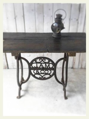 rustic oak industrial table