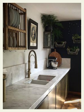 brass kitchen doors marble white