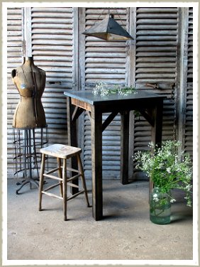 zinc top poseur table