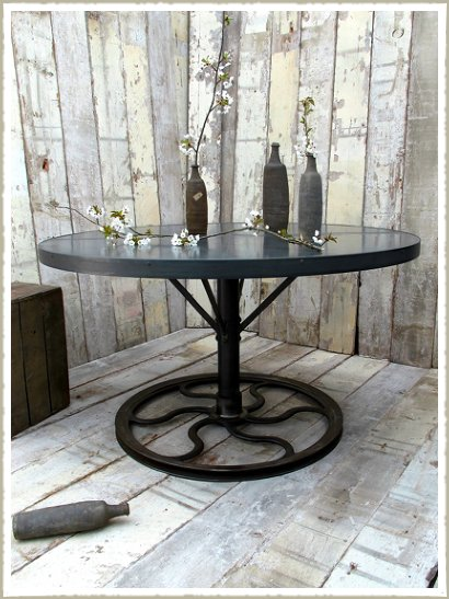 Large Round Industrial Zinc Topped Wheel Dining Table Tables