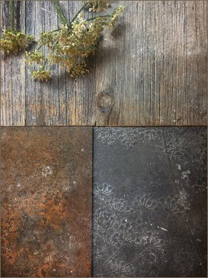 moodboard iron, timber, gunmetal patterned
