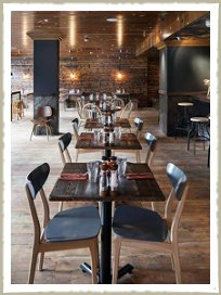 Cleaver restaurant in Wokingham including Zinc tables, counter and vintage industrial furniture