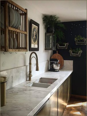 brass kitchen home marble white