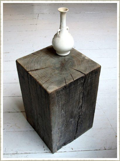Aged oak wood block stool side table made to measure