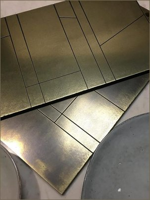 brass deco tiles and panels