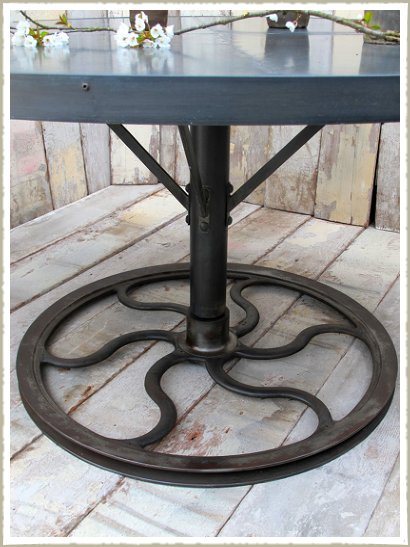 Large Round Industrial Zinc Topped Wheel Dining Table